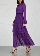 THREE FLOOR Ultralicious purple guipure lace gown – romantic tiered maxi
