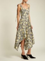 PROENZA SCHOULER Tie-shoulder floral-print crepe dress / asymmetric hem