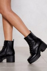 Nasty Gal Total Stud Chunky Boot Black – studded platform lace-up boots