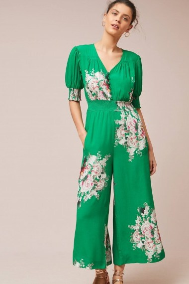 Tracy Reese Longwood Floral Jumpsuit in Green - flipped
