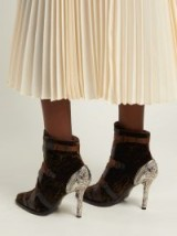 CHLOÉ Tracy green velvet ankle boots ~ silver-tone metal heels