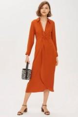 Topshop Twist Front Midi Dress in Cinnamon | deep V-neckline | autumn colours