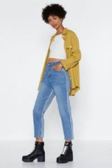 Nasty Gal Two Sides to Every Story Mom Jeans | two-tone denim