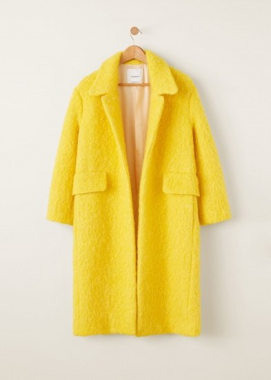 Mango Unstructured wool-blend coat in yellow – autumn luxe - flipped