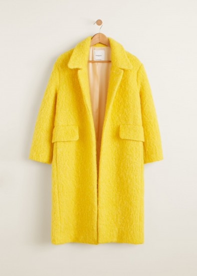 Mango Unstructured wool-blend coat in yellow – autumn luxe