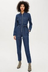 Topshop Utility Zip Boiler Suit in Indigo | utilitarian denim