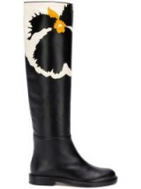 VALENTINO black floral knee high flat leather boots