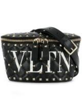 VALENTINO Valentino Garavani Rockstud Spike black leather belt bag | studded bum bag