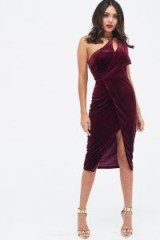 Lavish Alice velvet one shoulder cut out midi dress | luxe style evening wear