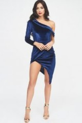 Lavish Alice velvet one shoulder wrap mini dress in navy | asymmetric style partywear | party glamour