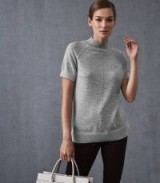 REISS VENUS METALLIC HIGH NECK TOP GREY ~ chic knitwear