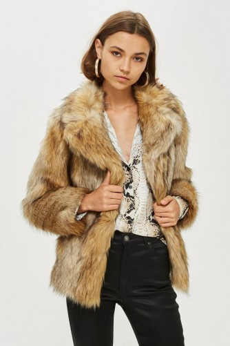 Topshop Vintage Faux Fur Coat – autumn luxe – neutral brown tones