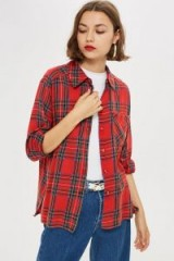 TOPSHOP Washed Check Shirt in Red