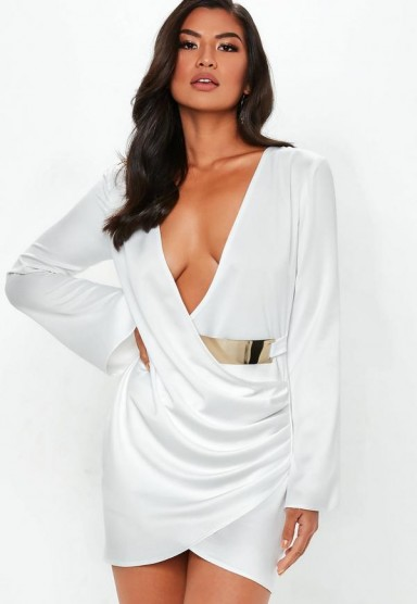 Missguided white floaty sleeve belted satin drape dress – going out glamour – plunge front – asymmetric hemline mini