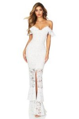 Nookie Luna Lace Gown in White | occasion glamour | cold shoulder maxi