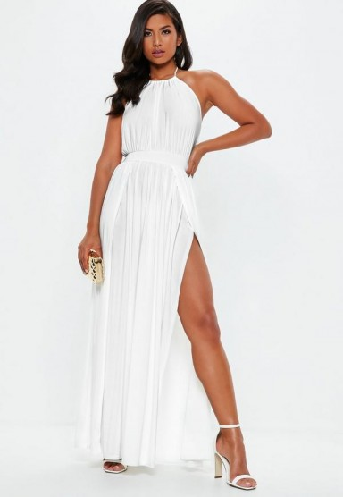Missguided white slinky halterneck maxi dress – going out glamour