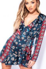 PARISIAN WINE TEAL FLORAL SCARF PRINT FRILL DETAIL WRAP FRONT MINI DRESS | plunging neckline frock