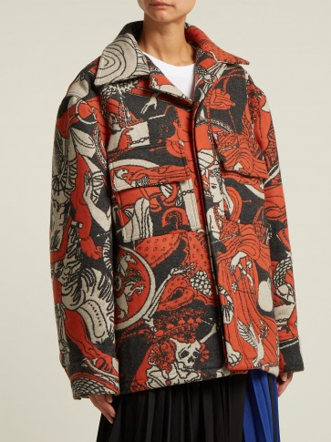 EDWARD CRUTCHLEY Wool-blend jacquard jacket – boxy orange printed autumn coat