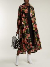 JUNYA WATANABE Black Wool-knit floral-print georgette dress