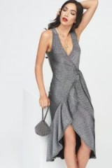 Lavish Alice wrap front tiered drape front dress in metallic knit | deep V neckline