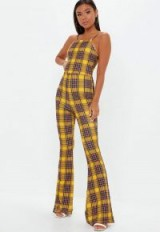 MISSGUIDED yellow check 90s neck kick flare jumpsuit / tartan prints