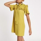 River Island Yellow frill swing dress | ruffled high neck frock