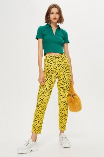 Topshop Yellow Leopard Print Mom Jeans – animal print denim - flipped