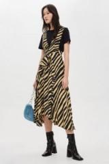 Topshop Zebra Print Pinafore Dress | animal prints | plunge front