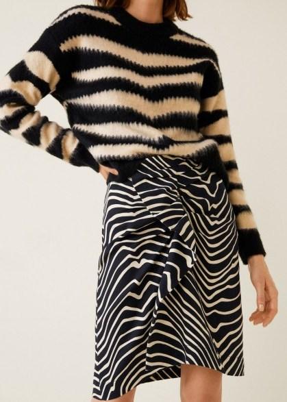 Mango Zebra print skirt in black – mono animal prints – feature frill – asymmetric hem - flipped