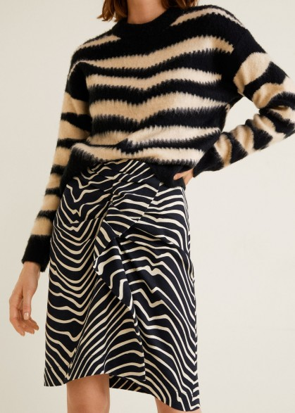 Mango Zebra print skirt in black – mono animal prints – feature frill – asymmetric hem