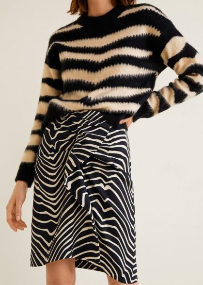 Mango Zebra print skirt in black – mono animal prints – feature frill – asymmetric hem