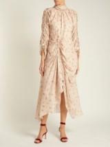 PREEN BY THORNTON BREGAZZI Zillie beige floral-print silk dress ~ feminine occasion wear