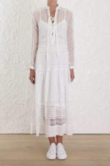Zimmermann Radiate Tie Up Dress In Pearl