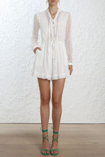 Zimmermann Radiate Tie Up Playsuit In White