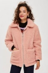 TOPSHOP Pink Zip Up Borg Jacket / casual fluff