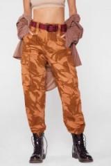 Nasty Gal After Party Vintage Blend In Orange Camo Pants