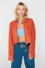 Nasty Gal After Party Vintage Cord Play Jacket in Rust / cropped corduroy jackets