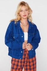 Nasty Gal After Party Vintage Eyes on the Oversize Denim Jacket in Royal Blue Wash