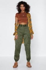 Nasty Gal After Party Vintage Utility Need These Pants in Khaki / cuffed green utilitarian trousers