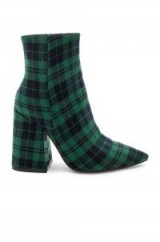 Alias Mae AHARA BOOTIE Green Tartan – plaid print block heeled boot