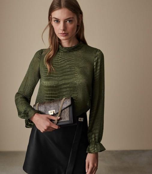 REISS ALISSON BURNOUT SNAKE PATTERN BLOUSE KHAKI ~ green high neck blouses