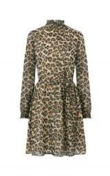 OASIS ANIMAL HIGH NECK DRESS / leopard prints