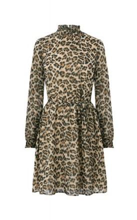 OASIS ANIMAL HIGH NECK DRESS / leopard prints