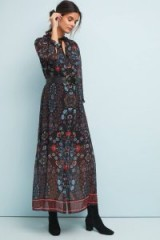 LAIA Antha Floral-Print Shirt Dress Black Motif / feminine boho maxi