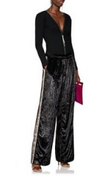 AREA Francis Side Embellished Metallic-Black Pants