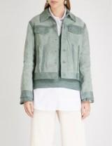 ARJE Peaked collar suede jacket Eucalyptus / luxury casual outerwear