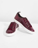 JIGSAW ASA CROC LEATHER TRAINER Wine / rich-red sporty flats