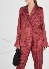 ASCENO Red Printed silk pyjama-style blazer ~ nightwear style jacket