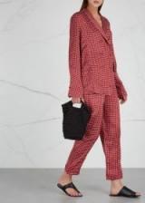 ASCENO Printed red silk pyjama-style trousers ~ nightwear style pants