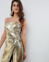 ASOS DESIGN bandeau maxi dress in allover sequin in gold. METALLIC GLAMOUR